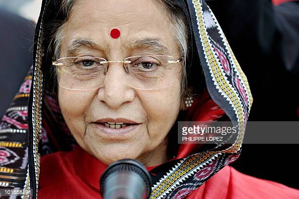 Indian President Pratibha Patil addresses the press during her visit at the Indian pavilion at the site of the World Expo 2010 in Shanghai on May 30...