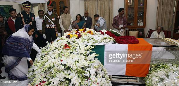 Indian President Pratibha Patil lays a wreath while paying homage to former president R Venkataraman in New Delhi on January 28 2009 Former president...