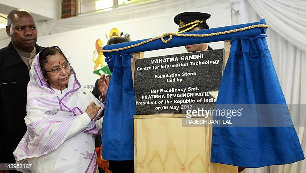 Indian President Pratibha Patil unveils the Mahatma Gandhi Centre for Information Technology at the Mahatma Gandhi Settlement in Phoenix north of...