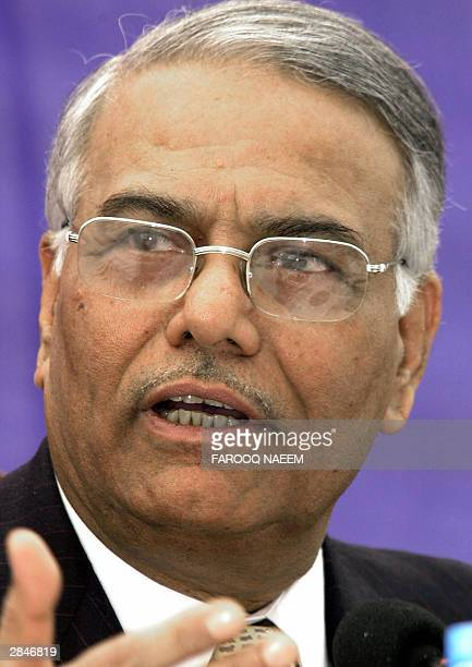 Indian Prime Foreign Minister Yashwant Sinha gestures as he addresses a press conference after the 12th South Asian Association for Regional...