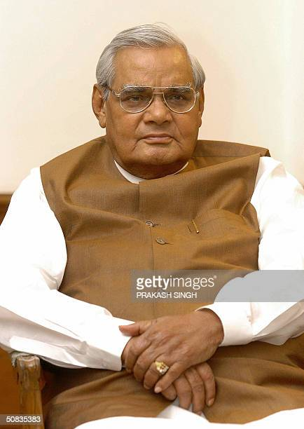 Indian Prime Minister Atal Behari Vajpayee attends the Bharatiya Janata Party parliamentary committee meeting in New Delhi 14 May 2004 India's oldest...