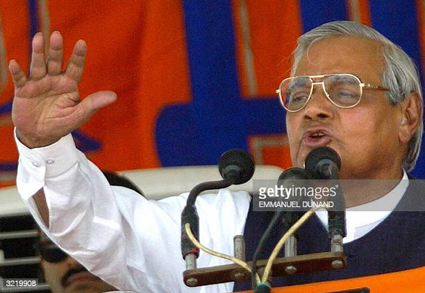 Indian Prime Minister Atal Behari Vajpayee gestures while addressing a political rally for his Bharatiya Janata Party in Lucknow 05 April 2004...