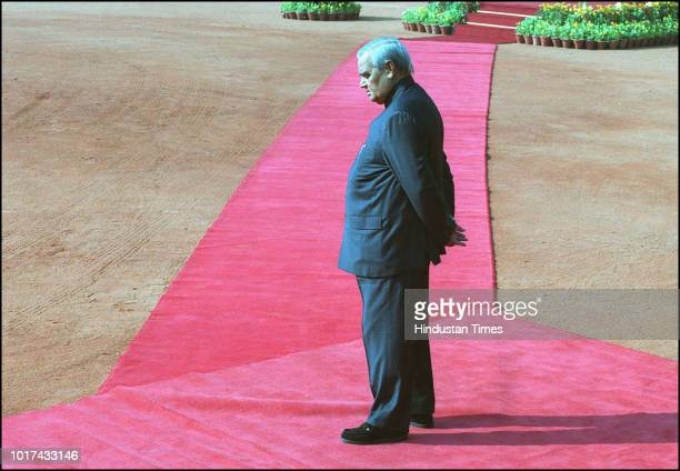 Indian Prime Minister Atal Bihari Vajpayee waiting for Konstantinos Simitis Prime Minister of the Hellenic Republic during the welcome ceremony at...