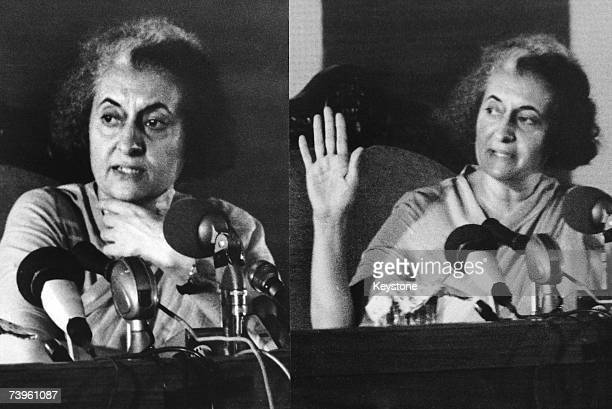 Indian Prime Minister Indira Gandhi during her press conference at Vigyan Bhawan in New Delhi 12th July 1972