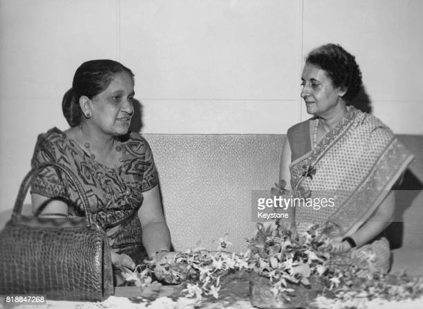 Indian Prime Minister Indira Gandhi with Sirimavo Bandaranaike the Prime Minister of Sri Lanka during the Fifth NonAligned Summit Conference in...