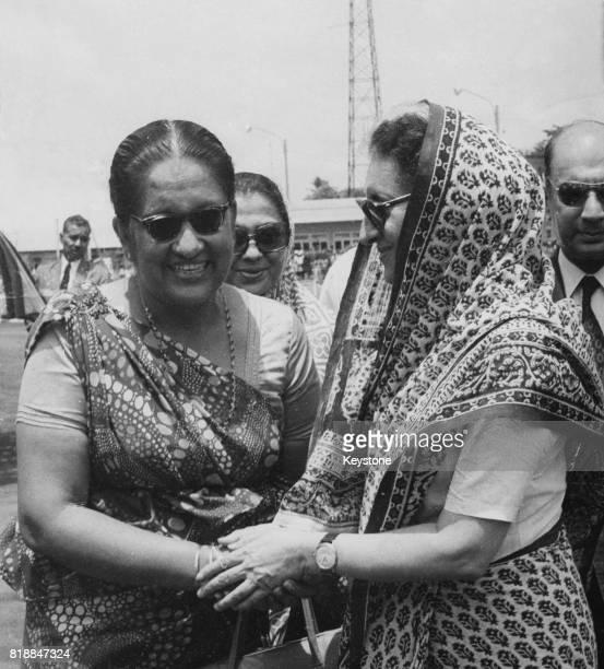 Indian Prime Minister Indira Gandhi with Sirimavo Bandaranaike the Prime Minister of Sri Lanka during a threeday visit to Sri Lanka May 1973