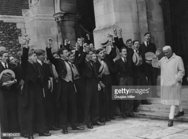 Indian Prime Minister Jawaharlal Nehru is cheered by the boys as he visits his alma mater Harrow School 2nd May 1960 Nehru is in the UK for the...