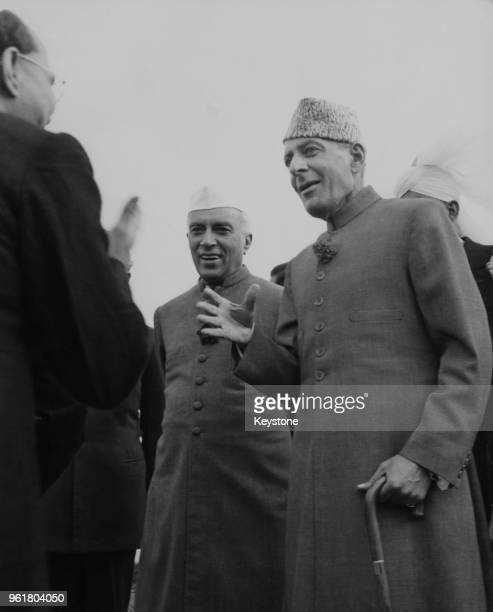Indian Prime Minister Jawaharlal Nehru meets Malik Ghulam Muhammad the GovernorGeneral of Pakistan upon the latter's arrival in Delhi to attend the...