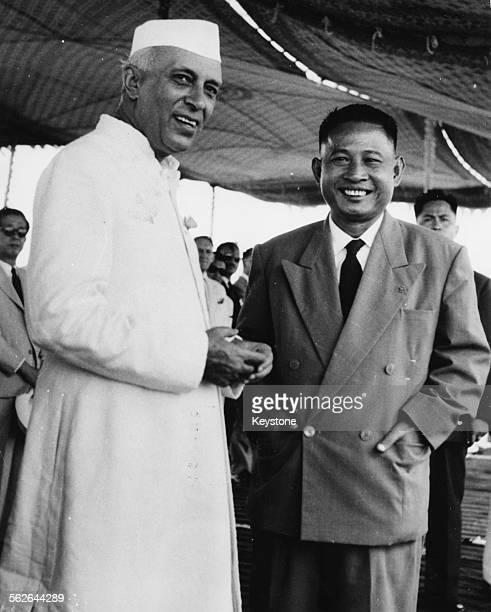 Indian Prime Minister Jawaharlal Nehru shaking hands with Prime Minister of Laos Katay Don Sasorith at Palam Airport, New Delhi, September 22nd 1953.