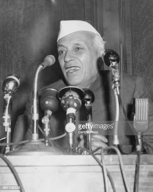 Indian Prime Minister Jawaharlal Nehru speaks out against apartheid during the Commonwealth Prime Ministers' Conference in London 2nd May 1960