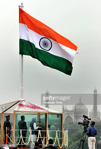 Indian Prime Minister Manmohan Singh addresses the nation from the ramparts of the Red Fort after hoisting the national flag on the occasion of the...