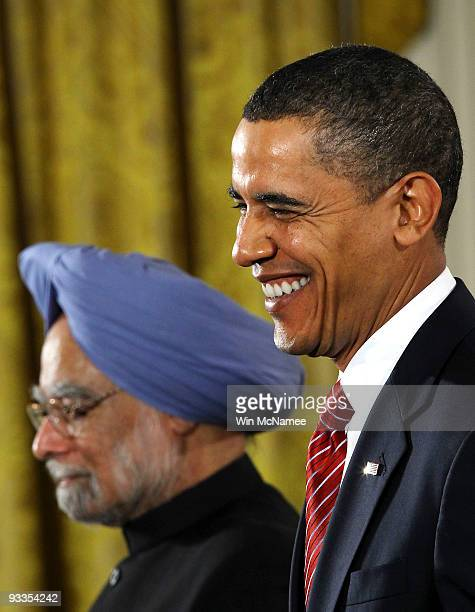 Indian Prime Minister Manmohan Singh and U.S. President Barack Obama participates in a joint press conference in the East Room of the White House...