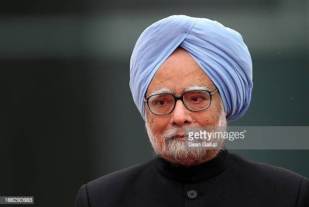 Indian Prime Minister Manmohan Singh arrives at the Chancellery on April 11, 2013 in Berlin, Germany. Singh and the Indian government are in Berlin...