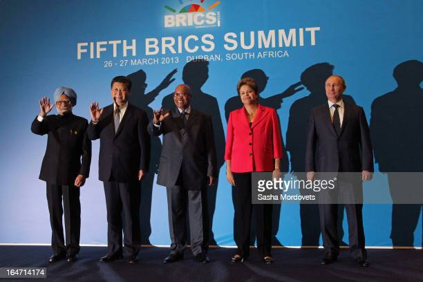 Indian Prime Minister Manmohan Singh Chinese President Xi Jinping South Africa President Jacob Zuma Brazil's President Dilma Rousseff and Russian...