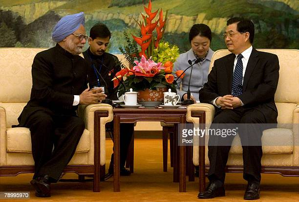 Indian Prime Minister Manmohan Singh meets with Chinese President Hu Jintao on January 15, 2008 at the Great Hall of the People in Beijing, China....