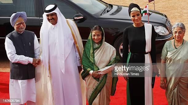 Indian Prime Minister Manmohan Singh Qatar's Emir Sheikh Hamad bin Khalifa Al Thani President Pratibha Patil Al Thani's wife Sheikha Mozah bint...