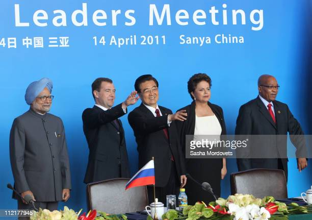 Indian Prime Minister Manmohan Singh Russian President Dmitry Medvedev Chinese President Hu Jintao Brazilian President Dilma Rousseff and South...