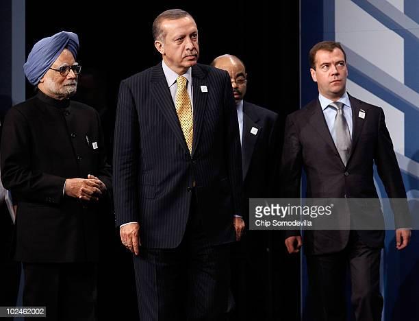 Indian Prime Minister Manmohan Singh Turkish Prime Minister Recep Tayyip Erdogan Ethiopian Prime Minister Meles Zenawi and Russian President Dmitry...