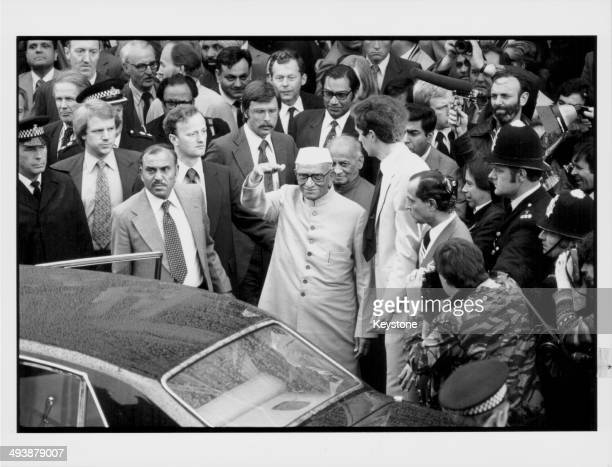 Indian Prime Minister Morarji Desai, attending a demonstration against the treatment of untouchables in India, Southall Town Hall, London, June 8th...