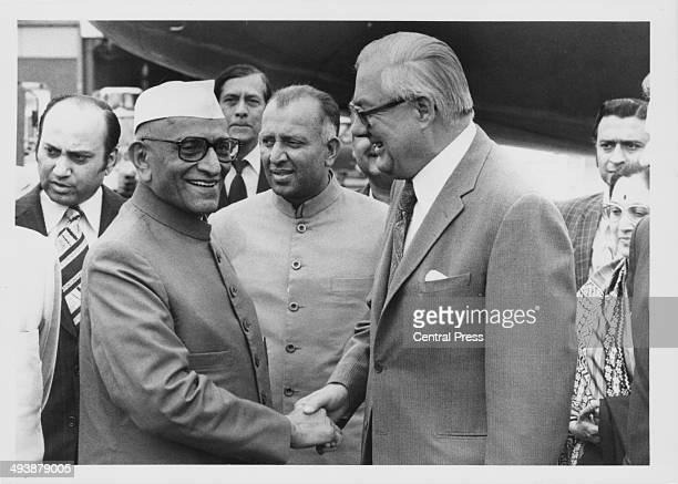 Indian Prime Minister Morarji Desai, shaking hands with British Prime Minister James Callaghan, at Heathrow Airport, London, June 6th 1967.