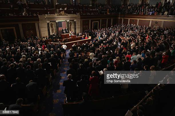 Indian Prime Minister Narendra Modi addresses a joint meeting of the US Congress in the House Chamber of the US Capitol June 8 2016 in Washington DC...