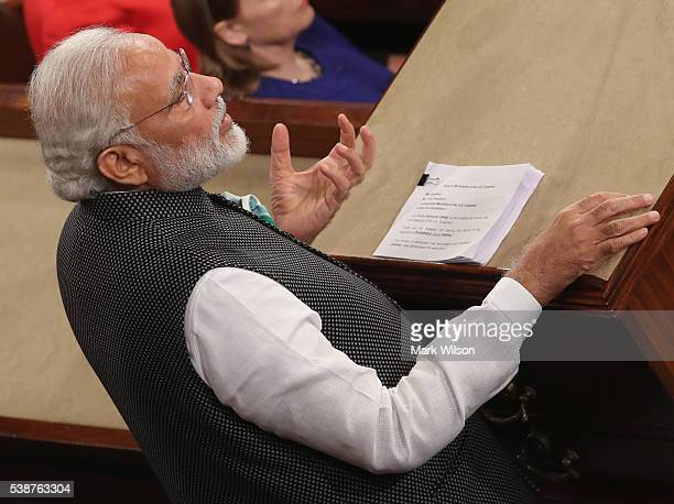 Indian Prime Minister Narendra Modi addresses a joint session of the United States Congress at the US Capitol June 8 2016 in Washington DC The Prime...