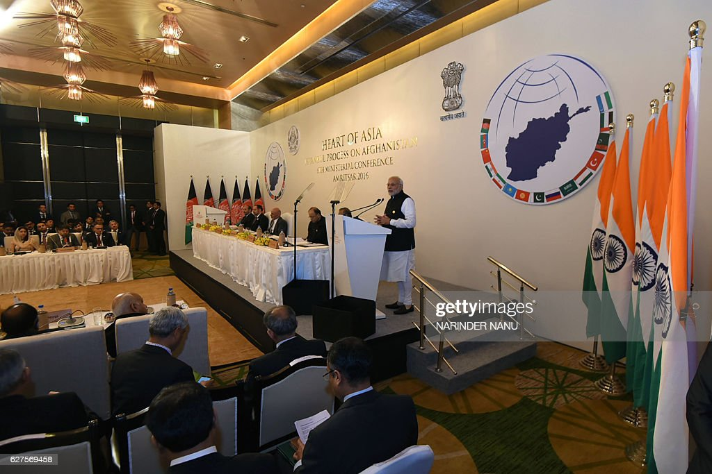Indian Prime Minister Narendra Modi addresses the 6th Heart of Asia Ministerial Conference in Amritsar on December 4 2016 / AFP / NARINDER NANU