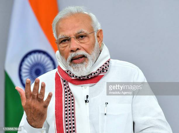 Indian Prime Minister Narendra Modi addresses the country during a televised speech in New Delhi India on 14 April 2020 Modi announced that India's...