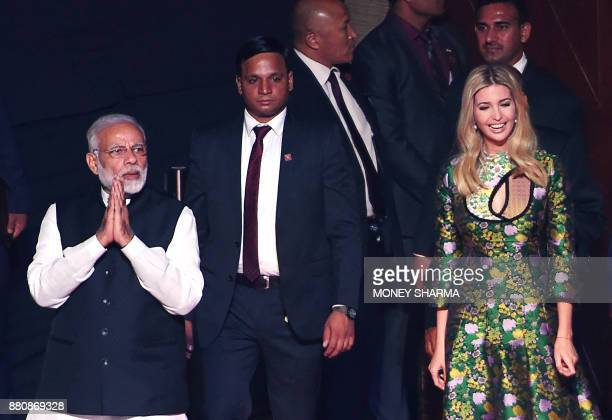 Indian Prime Minister Narendra Modi and advisor to US President Ivanka Trump arrive at the Global Entrepreneurship Summmit at the Hyderabad...