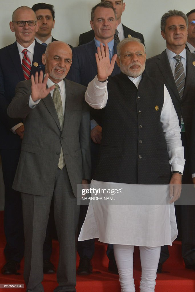 Indian Prime Minister Narendra Modi and Afghan President Ashraf Ghani pose for the group picture at the 6th Heart of Asia Ministerial Conference in...
