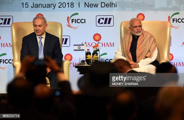 Indian Prime Minister Narendra Modi and Israeli Prime Minister Benjamin Netanyahu look on during the IndiaIsrael Business Summit in New Delhi on...