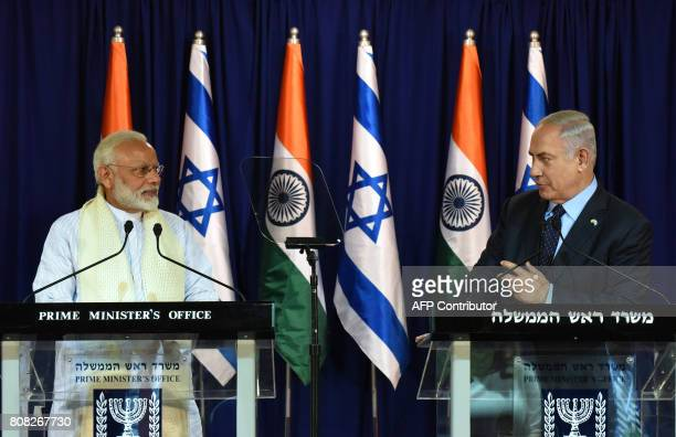 Indian Prime Minister Narendra Modi and Israeli Prime Minister Benjamin Netanyahu make a joint statement on July 4 at the Netanyahu's residence in...