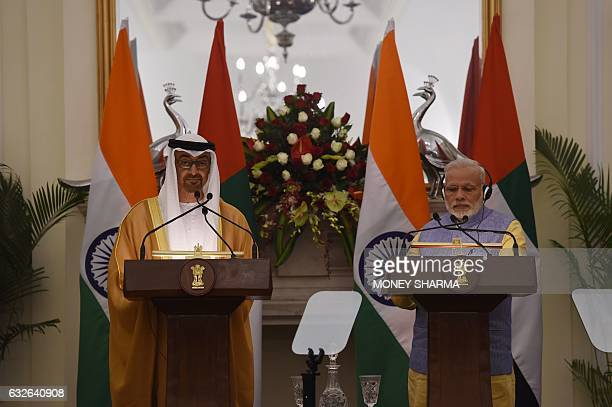 Indian Prime Minister Narendra Modi and the Crown Prince of Abu Dhabi General Sheikh Mohammed Bin Zayed Al Nahyan speak at a press conference...