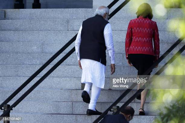 Indian Prime Minister Narendra Modi arrives at Eisenhower Executive Office Building for a meeting with U.S. Vice President Kamala Harris on September...