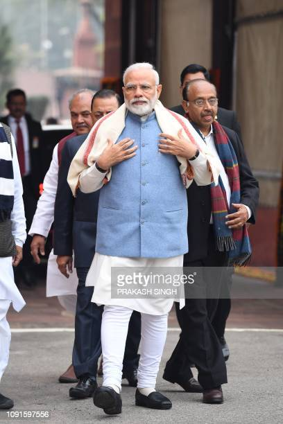 Indian Prime Minister Narendra Modi arrives at parliament for a budget session in New Delhi on January 31, 2019.