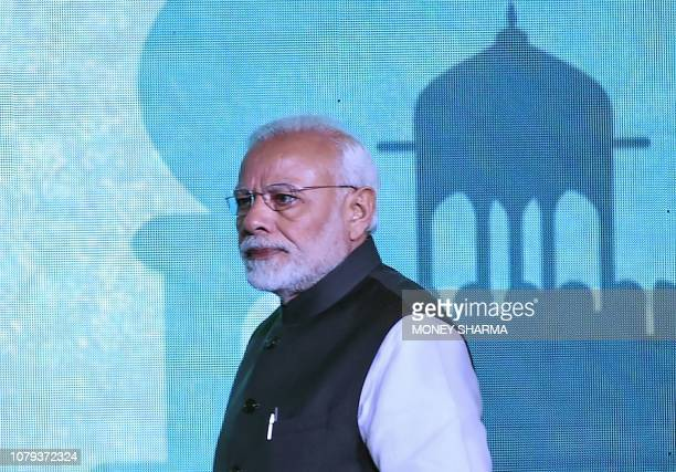 Indian Prime Minister Narendra Modi arrives at the inaugural event of the three-day Raisina Dialogue conference in New Delhi on January 8, 2019. -...