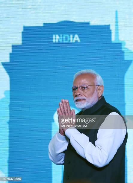 Indian Prime Minister Narendra Modi arrives at the inaugural event of the threeday Raisina Dialogue conference in New Delhi on January 8 2019 The...