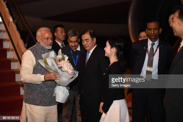 Indian Prime Minister Narendra Modi arrives at Tianhe International Airport on April 27 2018 in Wuhan China Chinese President Xi Jinping and Indian...