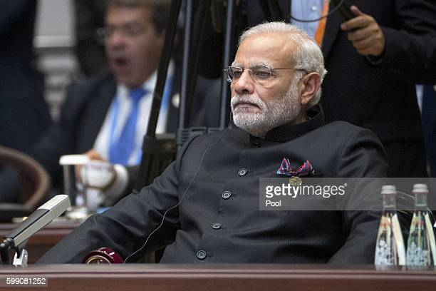 Indian Prime Minister Narendra Modi attends the opening ceremony of the G20 Summit on September 4 2016 in Hangzhou China World leaders are gathering...