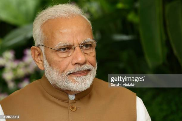 Indian Prime Minister Narendra Modi attends the orchid naming ceremony at the National Orchid Gardens on June 2 2018 in Singapore Narendra Modi is on...