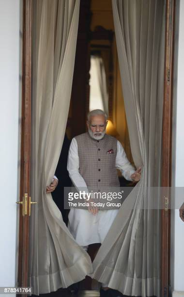 Indian Prime Minister Narendra Modi before the meeting with Sri Lankan Prime Minister Ranil Wickremesinghe at Hyderabad House in New Delhi