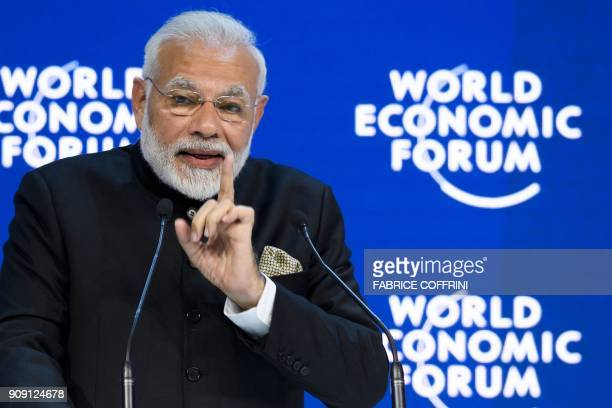 Indian Prime Minister Narendra Modi delivers a speech on the opening day of the World Economic Forum 2018 annual meeting on January 23 2018 in Davos...