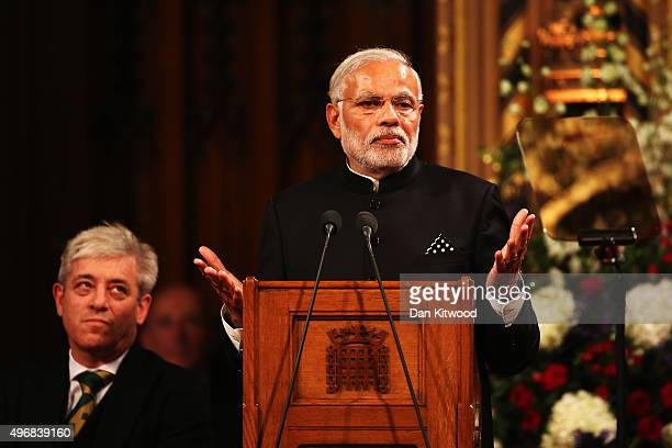 Indian Prime Minister Narendra Modi delivers a speech to Parliament on November 12 2015 in London England In his first trip to Britain as Prime...