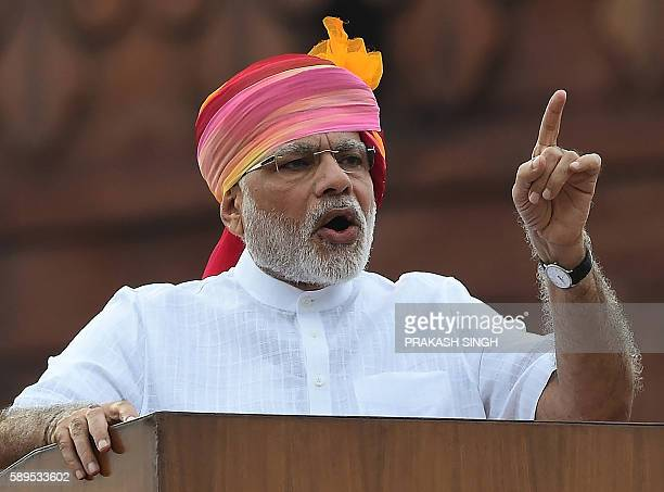 Indian Prime Minister Narendra Modi gestures as he delivers his Independence Day speech from The Red Fort in New Delhi on August 15 2016 / AFP /...