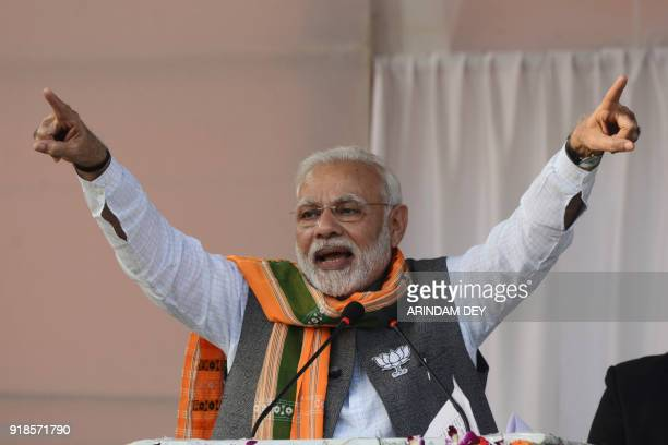 Indian Prime minister Narendra Modi gestures during a Bharatiya Janata Party public rally ahead of state legislative assembly election in Agartala...