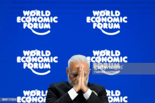 Indian Prime Minister Narendra Modi gestures on the opening day the World Economic Forum 2018 annual meeting on January 23 2018 in Davos eastern...