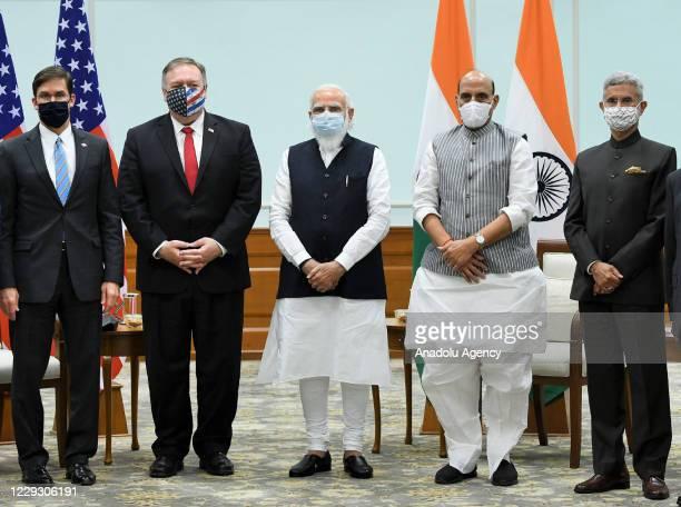 Indian Prime Minister, Narendra Modi , Indian Defence Minister Rajnath Singh , U.S. Secretary of State Mike Pompeo , U.S. Secretary of Defence Mark...