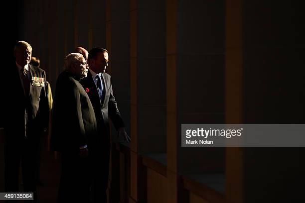 Indian Prime Minister Narendra Modi is escorted through the Australian War Memorial Australian Prime Minister Tony Abbott on November 18 2014 in...