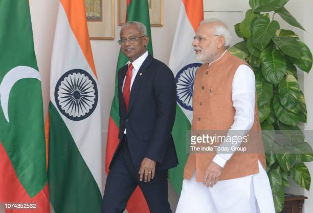 Indian Prime Minister Narendra Modi meets Maldivian President Ibrahim Mohamed Solih on his threeday state visit in New Delhi