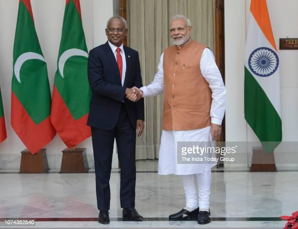 Indian Prime Minister Narendra Modi meets Maldivian President Ibrahim Mohamed Solih on his threeday state visit in New Delhi